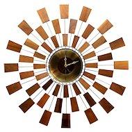 "Seth Thomas ""Granduer"" Modernist Sunburst Retro Wall Clock"
