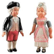 Pair Vintage Celluloid George & Martha Washington Kid dolls