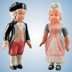 Pair Vintage Celluloid George & Martha Washington Kid dolls