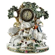 """Large Antique German Dresden Figural """"Hunt Scene"""" Porcelain Clock"""