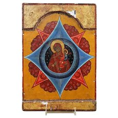 Antique Russian Icon Unburnt thornbush mother of God
