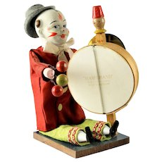 Rare Vintage German Mechanical Clown Squeeze Toy