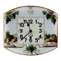 Antique German Floral Scenic Enameled Kitchen Wall Clock-working