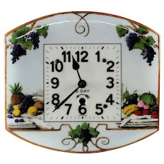 Antique German Floral Scenic Enameled Kitchen Wall Clock