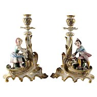 Pair French Old Paris Figural Porcelain Candlesticks
