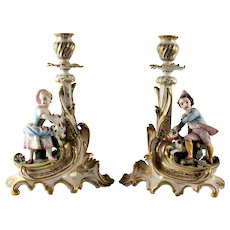Pair French Old Paris Figural Porcelain Candlesticks