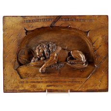 Antique Swiss Black Forest Carved Lion of Lucerne Walnut Plaque