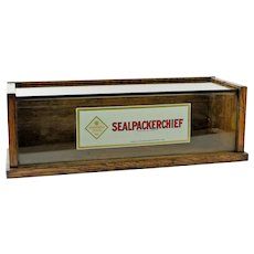 Antique Sealpackerchief Oak counter top display case.