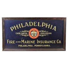 Philadelphia Fire & Marine Insurance Co. Tin Litho sign