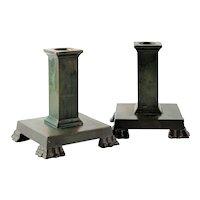 Pair Swedish GAB Art Deco Bronze Candlesticks