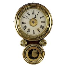 "Rare Antique Rosewood-Gilt Bronze New Haven Ionic ""Saxon"" Figure 8 Wall Clock"