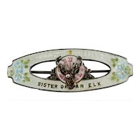 ELKS Fraternal Sister Guilloche silver enamel pin