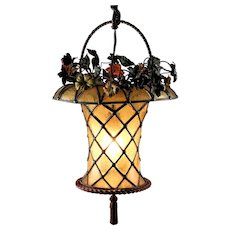 Antique  leaded Stained Glass Hanging Basket Lamp