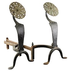 English Arts & Crafts Style Wrought Iron And Brass Andirons