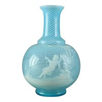 "Harrach Bohemian ""Mary Gregory"" Enameled Art Glass Bottle/Vase"
