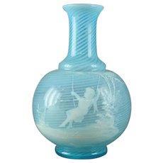 "Harrach Bohemian ""Mary Gregory"" Enameled Art Glass Bottle/Vase"