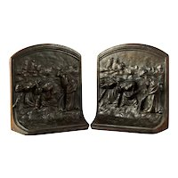 "Pair Antique German Cast Iron Bookends ""The Gleaners"""