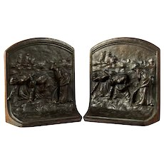 """Pair Antique German Cast Iron Bookends """"The Gleaners"""""""