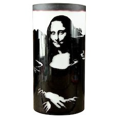 Mona Lisa Cameo Art Glass Vase