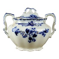 "19th Century Johnson Bros ""Oxford"" Flow Blue Sugar Bowl"