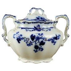"19th Century Johnson Bros ""Oxford"" Flow Blue Sugar Bowl"