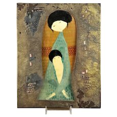 MId Century Modern Italian Mother and Child Hand Painted Icon By Burchiellaro