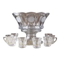 Vintage Fostoria Crystal Coin Pattern Punch Set