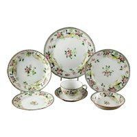 """Antique Hand Painted Nippon """"Peacock"""" 7 pc place setting Mystery #40"""