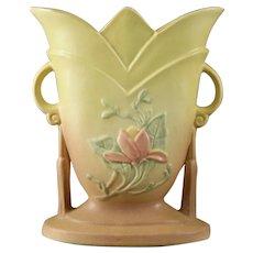 """Vintage Hull Art Pottery """"Magnolia"""" Handled Vase"""