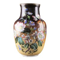 Large Victorian Bohemian Art Glass Vase 19th Century