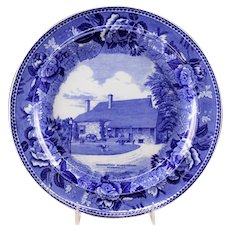 "Antique Wedgewood ""Washington's Headquarters"" Blue Transfer Historical Plate"