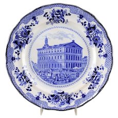 "Buffalo Pottery ""Faneuil Hall"" Blue Transfer Historical Plate"