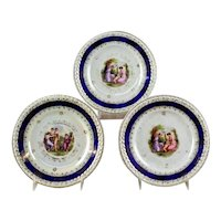 Three Elegant German Porcelain Cabinet Plates