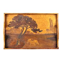 Galle French Art Nouveau Marquetry Inlaid Serving Tray
