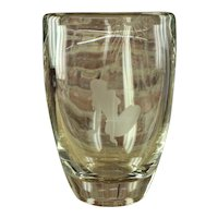 Swedish Art Glass Etched Crystal Vase