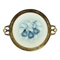 German/Austrian Secession Gilt Bronze Handled Blue & White Porcelain Tray