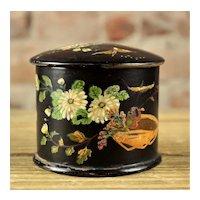Victorian Papier Mache Lacquer Decorated Trinket Box