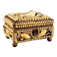 Rare 1903 Iowa State Fair Shell Art Dresser Box