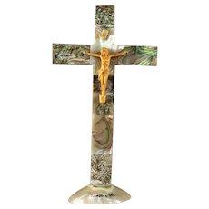 Vintage Abalone MOP Crucifix Souvenir Newport Ore.