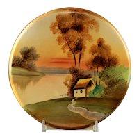 """Vintage Hand Painted Nippon """"House in Meadow"""" Tea Tile Trivet"""
