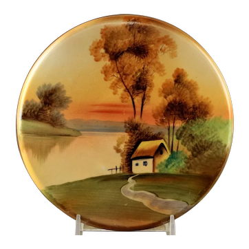"Vintage Hand Painted Nippon ""House in Meadow"" Tea Tile Trivet"