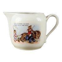 "Vintage German Porcelain Child's Nursery Rhyme "" Father Lion"" Milk Pitcher circa 1920s"