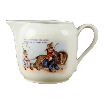 "Vintage German Porcelain Child's Nursery Rhyme "" Father Lion"" Milk Pitcher circa 1920s"