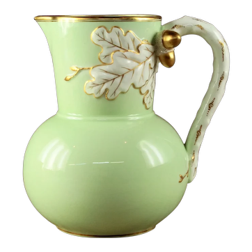 "Antique English Victorian Celadon Bodied Glazed  Two Color Jasperware ""Acorns & Oak Leaves"" Jug 1863"