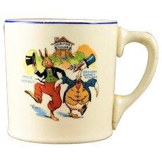 Vintage Uncle Wiggily & Grandpa Goosey Gander Ovaltine Mug 1924 Sebring Pottery