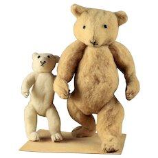 Rare German Spun & Pressed Cotton Teddy Bear Ornaments