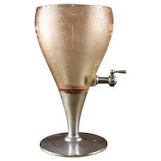 Vintage Mission Orange  Soda Fountain  Pink Glass Syrup Dispenser