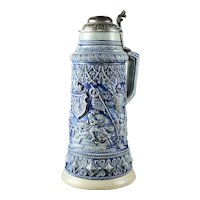 Large German Thewalt Blue/Gray Stoneware Stein or Tankard