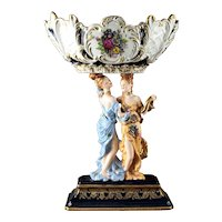 Large Dresden Style Figural Porcelain Compote