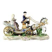 "Large & Impressive Dresden Style Porcelain ""Coaching Scene"" Figural Group"